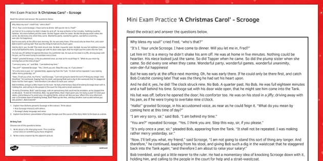 Mini Exam Practice A Christmas Carol: Scrooge - mini, exam, practice, a christmas carol