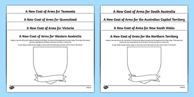 Australian Coat of Arms Design Sheets Pack - australia, emblem, coat of arms, design, drawing, art