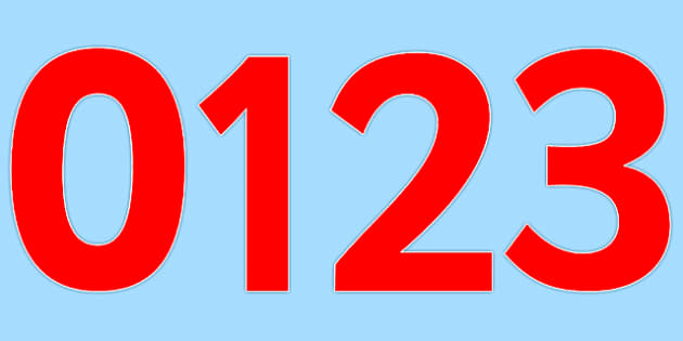 0-9 Display Numbers (Pure Red) - Display numbers, 0-9, numbers, display numerals, display lettering, display numbers, display, cut out lettering, lettering for display, display numbers