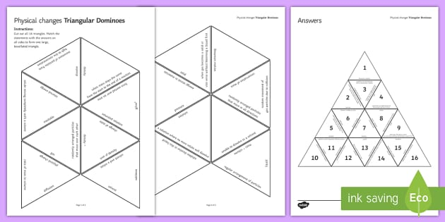Physical Changes Tarsia Triangular Dominoes - Tarsia, Dominoes, Physical Changes, Dominoes, Brownian Motion, Conservation of Mass, Changes of Stat