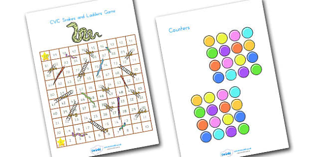 Snakes And Ladders CVC 1 100 - CVC, CVC words, word games, games