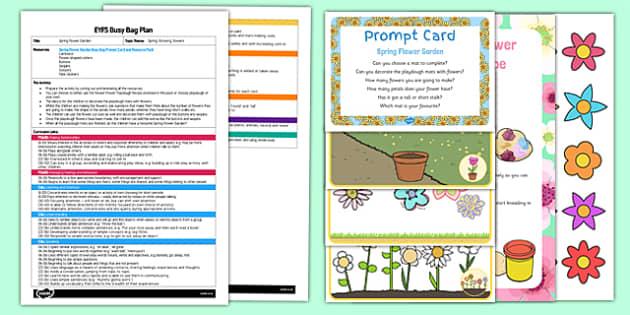 Spring Flower Garden EYFS Busy Bag Plan And Resource Pack - Gardens, flowers, spring, eyfs