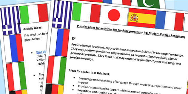 P Scales Ideas for Activities for Tracking Progress P4 MFL - MFL