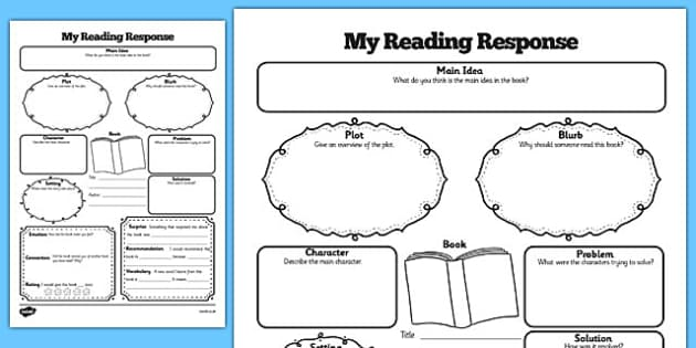 Reading Response Graphic Organiser Worksheet - reading, organiser