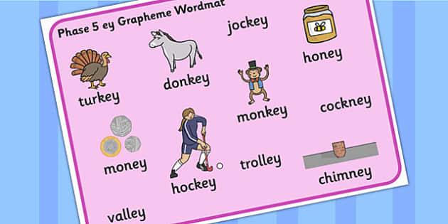 Phase 5 'ey' Grapheme Word Mat - phase 5, ey, grapheme, word mat