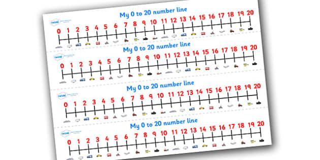 Transport Number Line (0-20) - Transport, Maths, Math, numberline, numberline display, car, van, lorry, bike, motorbike, plane, aeroplane, tractor, truck, bus