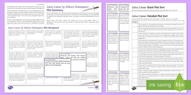 Julius Caesar Plot Resource Pack - Julius Caesar, plot, overview, marcellus
