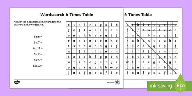 Multiplication 6 Times Tables Wordsearch Worksheet - multiplication, 6 times tables, wordsearch, worksheet, times tables, times, tables, maths, numeracy