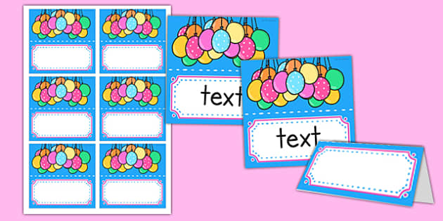Editable Birthday Place Name Labels - Birthdays, place name labels, table label, table name label, name label, template, cake, balloons, happy birthday, birthday role play
