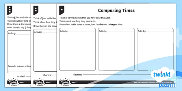 Understanding Time Home Learning Tasks - Measurement, time, home learning, homework, compare, describe, vocabulary