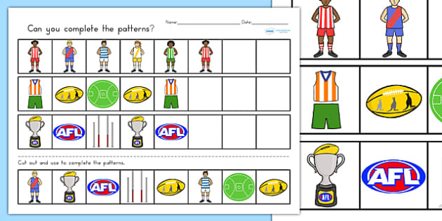 AFL Australian Football League Complete the Pattern Worksheets