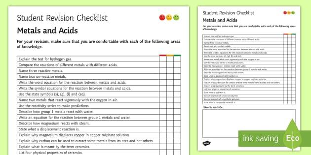 Metals and Acids Student Revision Checklist - Student Progress Sheet (KS3), acids, metals, reactive, un-reactive,  state symbols