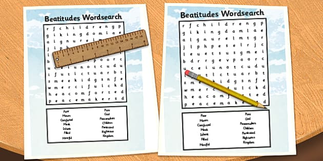 The Beatitudes Wordsearch - beatitudes, wordsearch, word, search