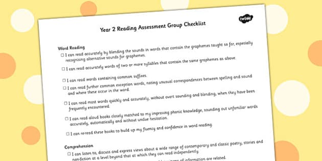 2014 Curriculum Y2 English Reading Assessment Individual Checklist