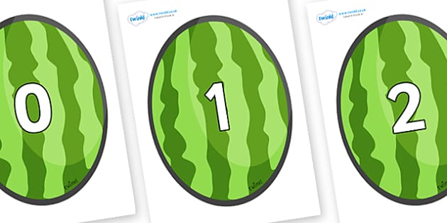 Numbers 0-31 on Melons (Vertical) - 0-31, foundation stage numeracy, Number recognition, Number flashcards, counting, number frieze, Display numbers, number posters