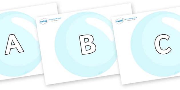 A-Z Alphabet on Bubbles - A-Z, A4, display, Alphabet frieze, Display letters, Letter posters, A-Z letters, Alphabet flashcards