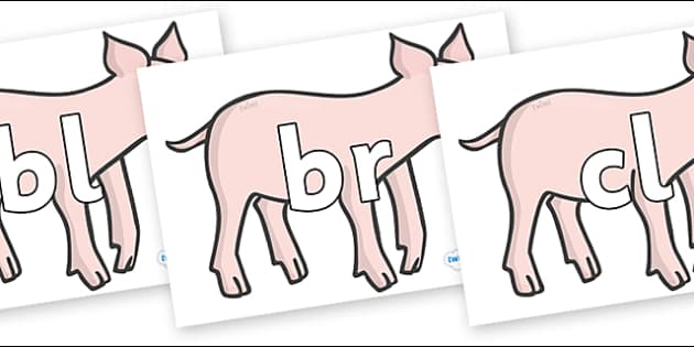 Initial Letter Blends on Piglets - Initial Letters, initial letter, letter blend, letter blends, consonant, consonants, digraph, trigraph, literacy, alphabet, letters, foundation stage literacy
