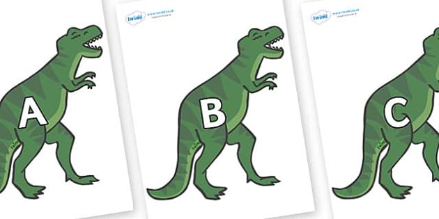 A-Z Alphabet on T-Rex - A-Z, A4, display, Alphabet frieze, Display letters, Letter posters, A-Z letters, Alphabet flashcards