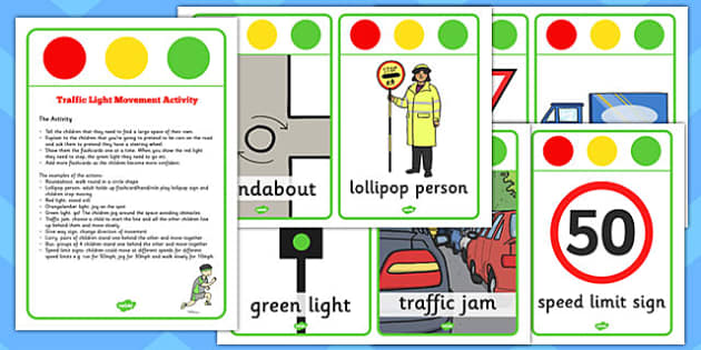 Traffic Light Movement Activity Cards - traffic light, movement