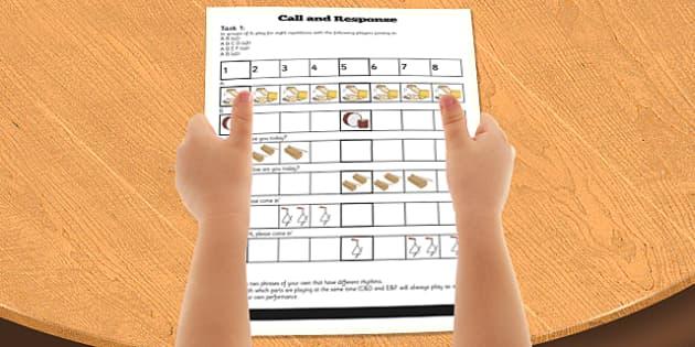 Call and Response Rhythm Activity sheet - activities, sheets, worksheet