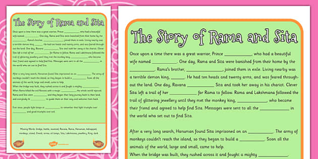 The Story of Rama and Sita Cloze Worksheet - diwali, hinduism