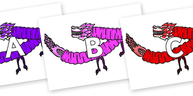 A-Z Alphabet on Chinese Paper Dragons - A-Z, A4, display, Alphabet frieze, Display letters, Letter posters, A-Z letters, Alphabet flashcards