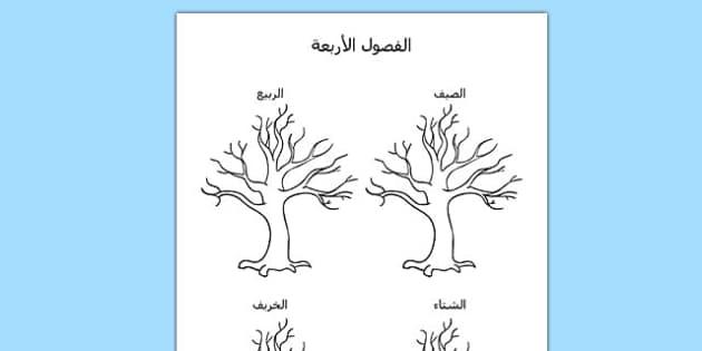 قالب رسم الفصول الأربعة - الفصور الأربعة، رسم، وسائل تعليمية