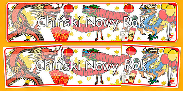 Banner na gazetkę Chiński Nowy Rok po polsku - Chiny, gazetka