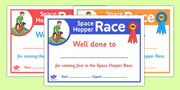Sports Day Space Hopper Certificates - sports day, certificates
