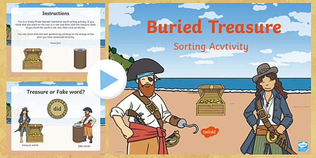 Pirate Buried Treasure Sorting Activity (Phase 2) - buried treasure phonics game, buried treasure sorting game, buried treasure powerpoint, words