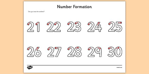 Number Formation Activity Sheet 21-30 - number formation, activity sheet, activity, number, formation, 21-30, worksheet