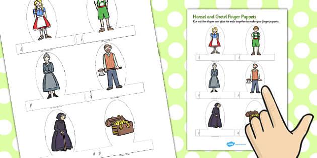 Hansel and Gretel Finger Puppets - finger puppets, hansel, gretel