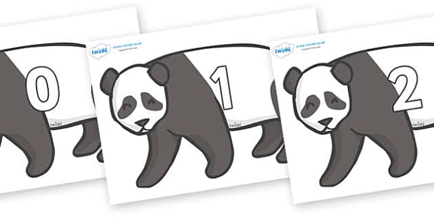 Numbers 0-100 on Pandas - 0-100, foundation stage numeracy, Number recognition, Number flashcards, counting, number frieze, Display numbers, number posters