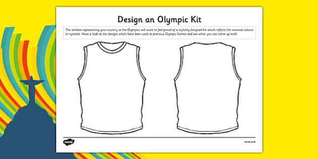 Design an Olympic Kit Activity Sheet - Running, national, medal, vest, athlete, worksheet