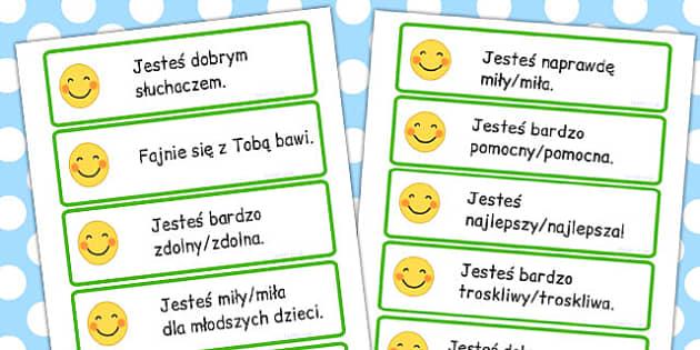 Karty z dialogami grzecznosciowymi po polsku - szkola , Polish