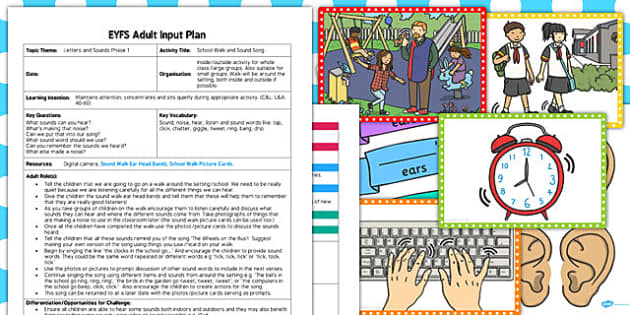 School Walk and Sound Song EYFS Adult Input Plan Resource Pack