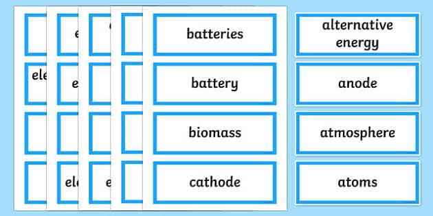Essential Energy Word Wall Display Card - australia, Australian Curriculum, Essential Energy, science, Year 6, word wall, display