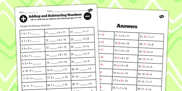 Number Facts Worksheet 11-15 One Digit - number, facts, 11, 15