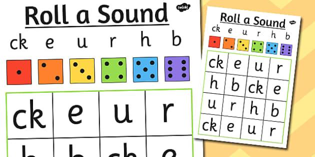 Roll a Sound Activity Mat Phase 2 ck, e, u, r, h, b - phase 2