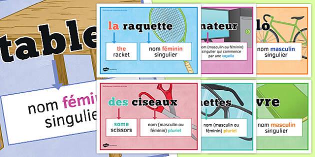 Articles définis et indéfinis posters - definite, indefinite, articles, classroom, display, posters