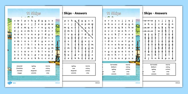The First Fleet 11 Ships Word Search - australia, The First Fleet, word search, ships, first fleet