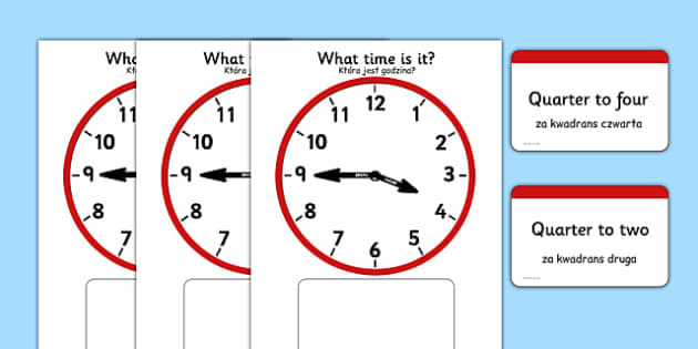 Analogue Clocks Quarter to Matching Polish Translation - polish, Clock time matching game, Time, Time resource, Time vocabulary, clock face, O'clock, half past, quarter past, quarter to, shapes spaces measures, clock game, time game, foundation stage