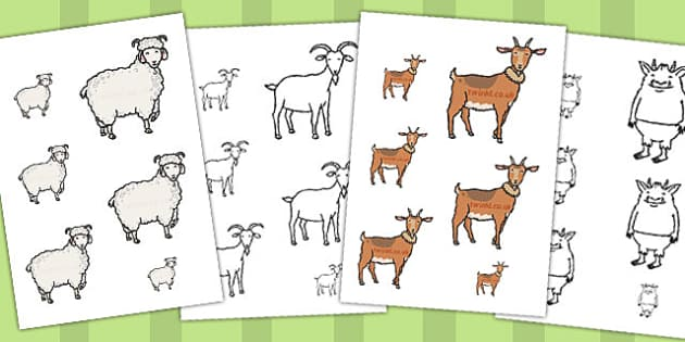 The Three Billy Goats Gruff Size Ordering - size ordering, goats