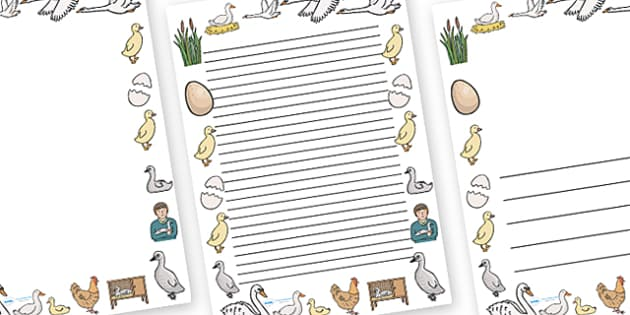 The Ugly Duckling Page Borders - The Ugly Duckling, Hans Christian Andersen, Andersen, fairy tale, page border, border, writing template, writing aid, writing, Danish, bird, barnyard, swan, beautiful, ugly, transformation, tale, story, reading
