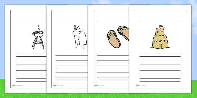 Summer Writing Frames - seasons, writing template, weather, write