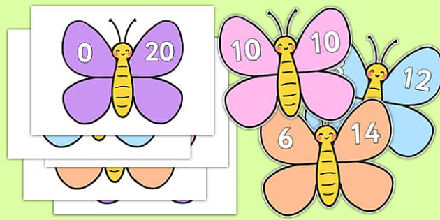 Number Bonds to 20 on Cute Butterflies - number bonds, 20, cute, butterflies