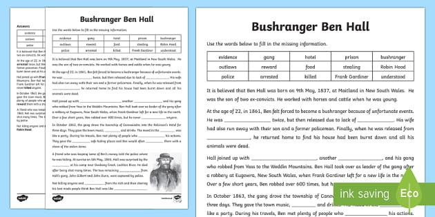Bushranger Ben Hall Cloze Activity Sheet-Australia
