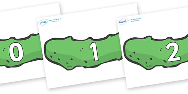 Numbers 0-31 on Pickles to Support Teaching on The Very Hungry Caterpillar - 0-31, foundation stage numeracy, Number recognition, Number flashcards, counting, number frieze, Display numbers, number posters