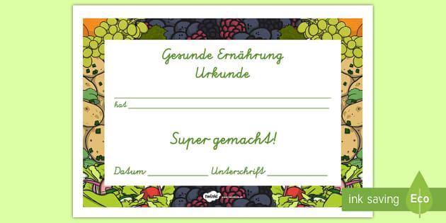 Zertifikat für eine gesunde Ernährung Healthy Eating Award Certificates German - german, healthy, healthy eating, certificate, award, fruit, vegetable, healthy snack, snack time, snack, food