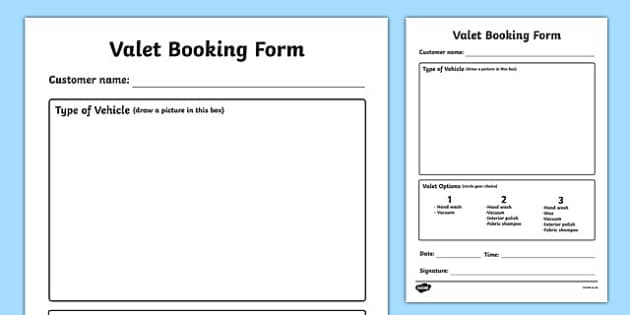 Car Wash Role Play Valet Appointment Form - car wash, car, cars, wash, valet booking, form, booking, clean, sponge, polish, bucket, clean cars, screen wash, hose, nozzle, pressure, washer, air pump, brush